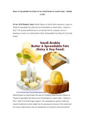 Butter & Spreadable Fats (Dairy & Soy Food) Market in Saudi Arabia - Outlook to 2021.doc