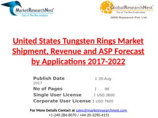 United States Tungsten Rings Market Shipment, Revenue and ASP Forecast by Applications 2017-2022.pptx