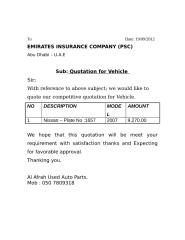 Quotation for Vehicle.doc