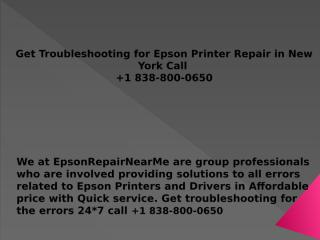 Get Troubleshooting for Epson Printer Repair in New York Call  +1 838-800-0650.pptx