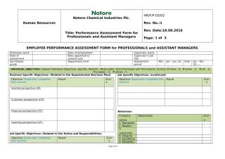 Performance Assessment Form for P-level and AMs.doc